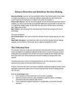 Конспект 'Advance Directives and Substitute Decision Making', 1.