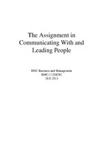 Реферат 'The Assignment in Communicating with and Leading People', 1.