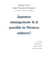 Реферат 'Japanese Management - Is It Possible in Western Cultures?', 1.