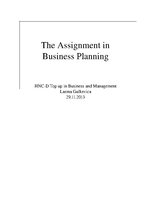 Реферат 'The Assignment in Business Planning', 1.