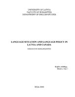 Реферат 'Language Situation and Language Policy in Latvia and Canada', 1.